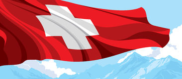 Swiss flag and blue mountains. Swiss flag on the background of blue mountains Royalty Free Stock Photo