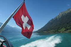 Swiss flag on board of a cruise ship Royalty Free Stock Images
