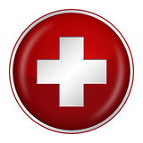 Swiss flag button Stock Photo