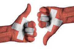 Swiss flag on human male hands. Swiss flag  on human male hands Royalty Free Stock Photo