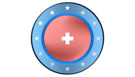 Swiss Flag,illustration. Swiss Flag as a button, most illustrations Royalty Free Stock Image