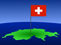 Swiss flag on map. Map of Switzerland and Swiss flag on pole illustration Stock Photos
