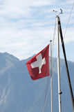 Swiss flag on the mast of a ship Royalty Free Stock Images