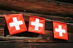 Swiss_flag_pennant stock foto's