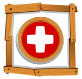 Swiss flag on round button Stock Photography