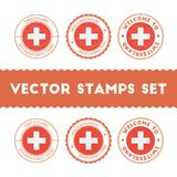 Swiss flag rubber stamps set. National flags grunge stamps. Country round badges collection Stock Photo