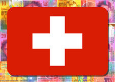 Swiss flag with Swiss Francs Royalty Free Stock Photos