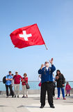 Swiss flag thrower Royalty Free Stock Images