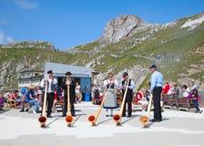 Swiss flag thrower Royalty Free Stock Image