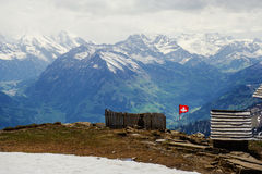 Swiss flag on the top Royalty Free Stock Photography
