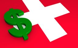 Swiss flag and US dollar royalty free stock image