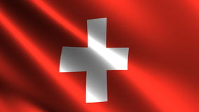 Swiss flag waving in the wind Royalty Free Stock Image
