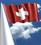 Swiss flag waving in the wind with silk aspect silky. Swiss flag waving in the wind with silk aspect, white red, silky white cross stock image