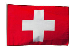 Swiss flag in the wind on a white background Stock Images