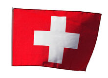 Swiss flag in the wind on white background Stock Image
