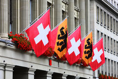 Swiss flags and Bear flags Stock Photo
