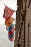 Swiss flags downtown Luzern, Switzerland. Stock Photo