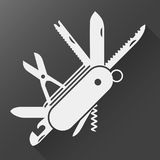 Swiss folding knife flat icon; Folding army knife;. Folding knife flat icon; Folding army knife; multi-tool instrument sign isolated; Multi tool white flat icon Royalty Free Stock Image