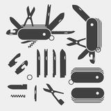 Swiss Folding knives to take apart flat icon. Multi-tool instrument Stock Images