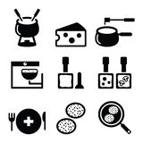 Swiss food and dishes icons - fondue, raclette, rösti, cheese Stock Images