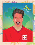 Swiss football fan shouting Stock Image