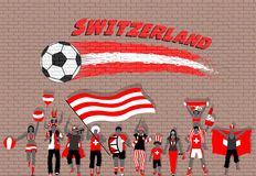 Swiss football fans cheering with Switzerland flag colors in fro. Nt of soccer ball graffiti. All the objects are in different layers and the text types do not vector illustration