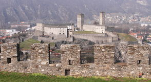 Swiss fortress viewed from mountain Royalty Free Stock Image