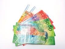 Swiss franc bank notes fan Stock Photos
