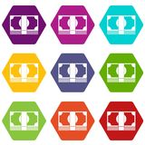 Swiss Franc banknote icon set color hexahedron. Swiss Franc banknote icon set many color hexahedron isolated on white vector illustration Royalty Free Stock Photo
