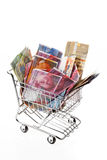 Swiss franc banknote with shopping basket Royalty Free Stock Photos