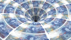 Swiss franc banknotes flow in hole. Money background from swiss franc banknotes flow in hole royalty free illustration