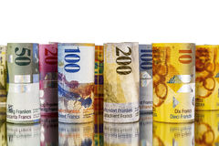 Swiss franc, banknotes rolled up in rolls Royalty Free Stock Image
