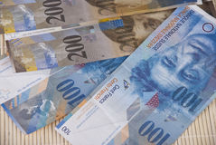 Swiss Franc bills background. Close up photo Stock Image