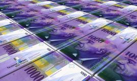 Swiss franc bills stacks background. Royalty Free Stock Photos