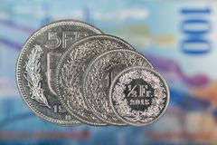1, 2, 5 Swiss Franc and 50 Swiss Cent Coin with 100 Swiss Franc Stock Photo