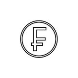 Swiss franc coin line icon, finance and business. Franc sign vector graphics, a linear pattern on a white background, eps 10 Royalty Free Stock Images