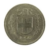 5 swiss franc coin 1968 obverse isolated on white background. Specimen royalty free stock image