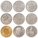 Swiss Franc coin set Stock Photos
