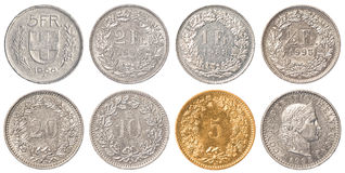 Swiss Franc coin set Royalty Free Stock Photography