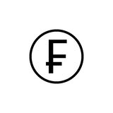 Swiss franc coin solid icon, finance and business Stock Photography