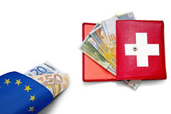Swiss franc Euro wallets banner Stock Photo