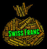 Swiss Franc Means Worldwide Trading And Coinage. Swiss Franc Showing Currency Exchange And Currencies Stock Photos