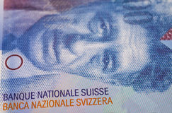 Swiss Franc note Stock Images