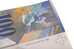 Swiss Franc note, isolated Royalty Free Stock Images