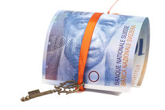 Swiss Franc note and Key To Success With Red Bow Royalty Free Stock Images