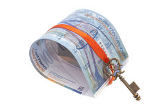 Swiss Franc note and Key To Success With Red Bow Royalty Free Stock Photo