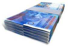 Swiss Franc Notes Bundles Royalty Free Stock Images