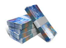 Swiss Franc Notes Bundles Stack. A stack of bundled Swiss Franc banknotes on an isolated background Royalty Free Stock Photo