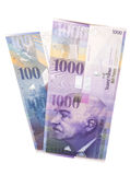 Swiss 1000 and 100 Franc notes. Isolated on white Royalty Free Stock Photography