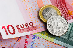 Swiss Franc versus Euro Stock Photography